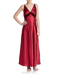 Jonquil Velvet Trimmed Satin Long Gown Burgundy