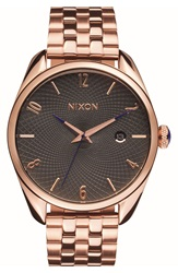 Nixon 'Bullet' Guilloche Dial Bracelet Watch 38Mm Rose Gold Gunmetal