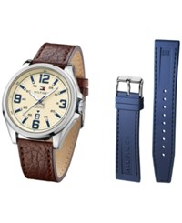 Tommy Hilfiger Men's Casual Sport Brown Leather Strap Watch And Interchangeable Navy Silicone Strap 46Mm 1791207