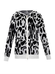 Baja East Leopard Hooded Zip Up Sweater