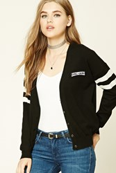Forever 21 Girl Gang Patched Cardigan Black Cream