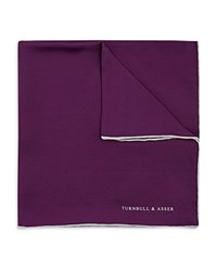Turnbull And Asser Plain Solid Pocket Square Purple
