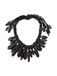 Monies Crystal Multi Strand Necklace Black