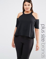 Pink Clove Cold Shoulder Jersey Top Black