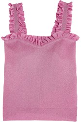 Sjyp Steve J And Yoni P Ruffled Metallic Knitted Top Pink