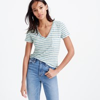 J.Crew Linen V Neck Pocket T Shirt In Stripe