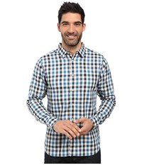 The North Face Long Sleeve Hayden Pass Shirt Banff Blue Plaid Men's Clothing