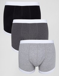 Asos Trunks In Monochrome With Contrast Binding 3 Pack Monochrome Multi