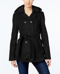 Celebrity Pink Hooded Belted Peacoat Charcoal