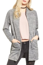 Cotton Emporium Long Bomber Cardigan Gray