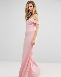 Club L Bridesmaid Off Shoulder Fishtail Maxi Dress Pale Pink