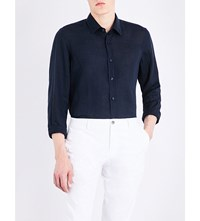 Boss Regular Fit Linen Shirt Dark Blue