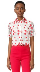 Giambattista Valli Embroidered Top White Red