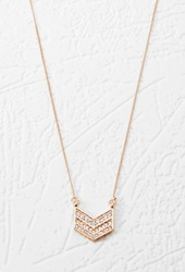 Forever 21 Rhinestone Chevron Pendant Necklace Gold Clear