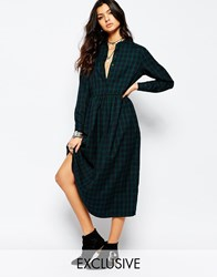 Reclaimed Vintage Maxi Shirt Dress In Check Bluegreencheck