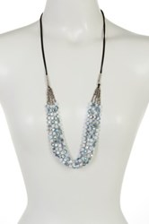 Spring Street Multi Row Square Glitzy Glass Necklace Blue