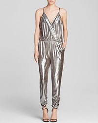 Aqua Glam Silver Lame Crossover Jumpsuit Bloomingdale's Exclusive Taupe Silver