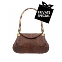 Fontanelli Brown Croco Embossed Leather Flap Bag W Python Trim