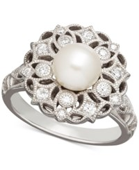 Honora Style Cultured Freshwater Pearl 7Mm And Swarovski Zirconia Ring In Sterling Silver White