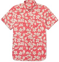 J.Crew Button Down Collar Floral Print Cotton Shirt Red