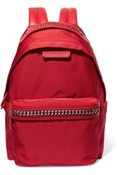Stella Mccartney The Falabella Go Faux Leather Trimmed Shell Backpack Red