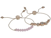 Guess Two Piece Slider Bracelet Set With Bead And Stone Accents Rose Gold Pink Bracelet