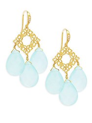 Indulgems Floral Aqua Chalcedony Drops Earrings
