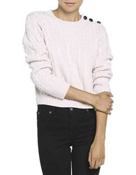 Bardot Alpine Cropped Cable Knit Top Pink