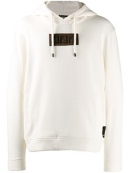 Fendi Embroidered Ff Logo Hoodie White