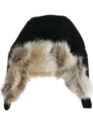 Inverni Fox Fur Lined Trapper Hat Black