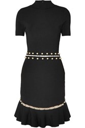 Alice Olivia Evelyn Embellished Cutout Stretch Knit Dress Black