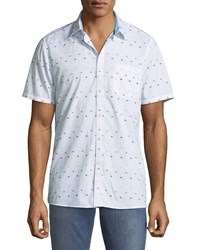 Civil Society Oval Dobby Jacquard Short Sleeve Sport Shirt White