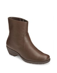 Aerosoles Speartint Faux Leather Booties Dark Brown