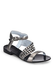 Dannijo Riles Crystal Studded Metallic Leather Sandals Gunmetal