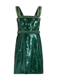 Andrew Gn Sequinned And Crystal Embellished Mini Dress Green