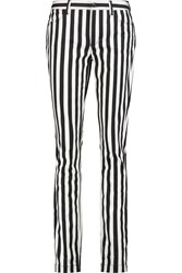 Dolce And Gabbana Striped Mid Rise Slim Leg Jeans Black