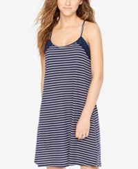Motherhood Maternity Striped Nursing Nightgown Navy White
