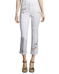 Tory Burch Carson Floral Embroidered Cropped Jeans Women's