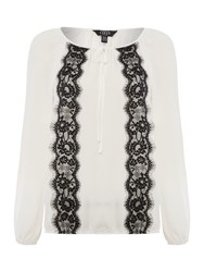 Lipsy Long Sleeve Lace Trim Top Monochrome