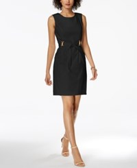 Ellen Tracy Petite Belted Sheath Dress Black