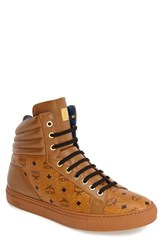 Men's Mcm Leather And Coated Canvas Sneaker Cognac