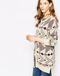 Le Mont St Michel Geometric Print Cardigan Burgundyoffwhite