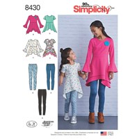 Simplicity Children's Tunics And Leggings Sewing Pattern 8430