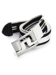 J. Lindeberg Golf Slater Striped Web Belt Black White