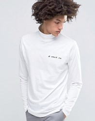 Cheap Monday Supervise Roll Neck Top It Wasn't Me Embroidery White