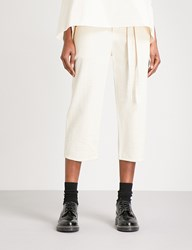 Phoebe English Wide Cropped High Rise Cotton Canvas Trousers Natural