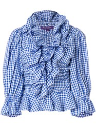 Ralph Lauren Collection Checked Ruffled Blouse Blue