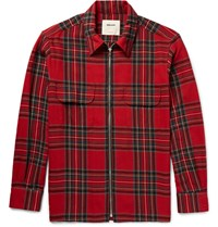 Noon Goons Zippo Checked Cotton And Wool Blend Flannel Shirt Claret