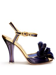 Miu Miu Vinyl Flower Embellished Sandals Blue