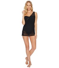 Jantzen Mesh Solids Swimdress Black Women's Swimsuits One Piece